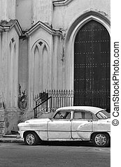 Vintage classic car - Black and white detail of classic ...