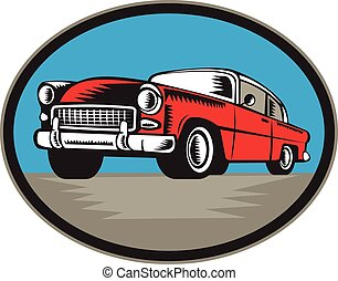 Illustration of a vintage classic car viewed from low angle set inside oval shape done in retro woodcut style.