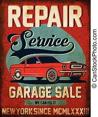Vintage classic car repair service tee graphic design