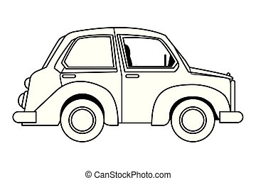 Vintage classic car sideview cartoon in black and white