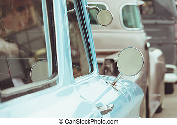 Vintage classic car with mirror