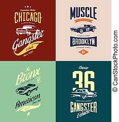 Vintage classic gangster, muscle car vector tee-shirt logo...