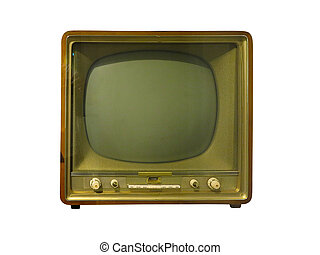 Vintage classic retro old TV receiver isolated over white
