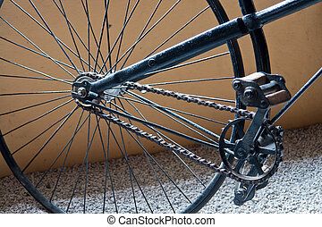 Vintage Classical Black Bicycle - Close Details of a Vintage...