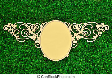 Vintage classical frame on green plant