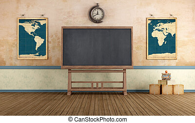 Vintage Classroom - Old classroom with blackboard and...