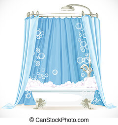 Vintage claw-foot bathtub and a curtain on the hoop