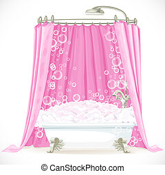 Vintage claw-foot bathtub and a pink curtain on the hoop