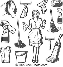 Vintage Cleaning Service Elements Collection - Vintage...