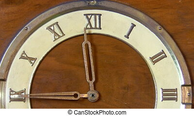 Vintage clock 12 hours - Old wooden vintage clock with roman...