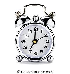 Vintage Clock Alarm on white
