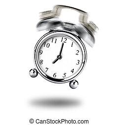 Vintage clock alarm ringing on white