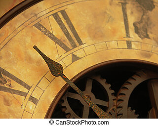 Close up of antique clock face showing hands and cogs