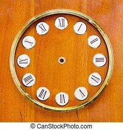 vintage clock dial on wood background