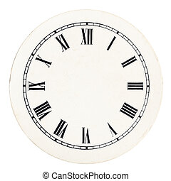 Vintage clock dial template - Real round 12-hour roman...