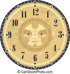 Vintage Clock Face - Vintage clock face template with...