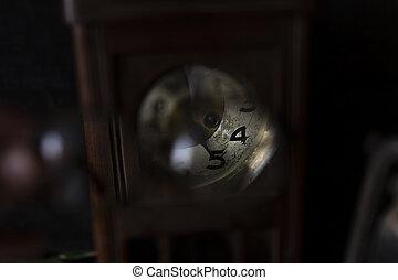 Vintage clock looked through pair of glasses