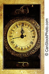 Vintage clock- midnight - Vintage clock-New Year`s at...