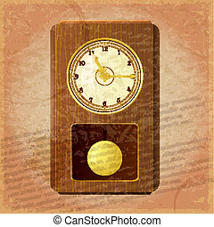 Vintage clock on a grungy background