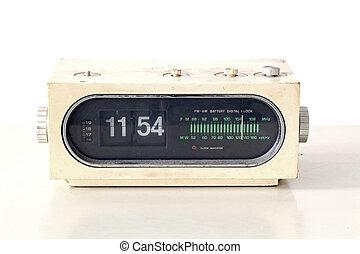 vintage clock radio set on old table