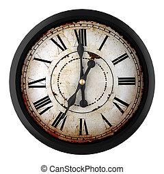 vintage clock - 3d design of a clock at seven o´clock
