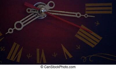 vintage clock  - Closeup of vintage clock face ticking