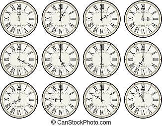 vintage clocks hour set - vintage clocks isolated on white...