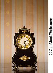 Vintage clocks on wallpaper background