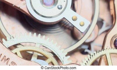 vintage clockwork - Macro footage of the interior of an old...