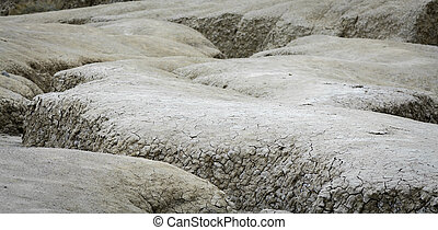 Vintage close-up with dried ground covered with cracks. Natural dry soil texture, brown drought theme in rural arid area, background for design.