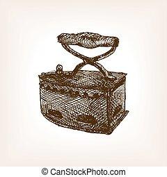 Vintage clothes iron sketch style vector