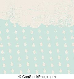 vintage clouds with rain drops on a blue background