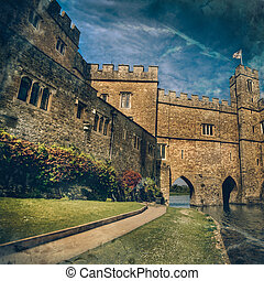 Historical Castle in Leeds Kent with Large Fluffy Clouds on a Sunny Day
