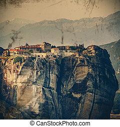 Vintage Coaster - Meteora Monasteries, Greece