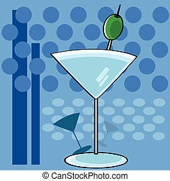 Vintage cocktail - Stylized cartoon illustration showing a...