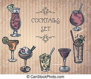 vintage cocktails - Collection of vintage cocktails . Retro...