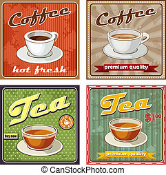 Vintage coffee and tea poster. vector illustration