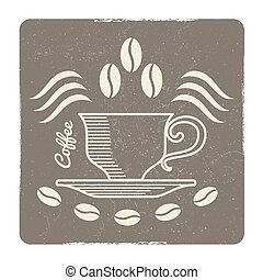 Vintage coffee cup logo design - vector label for cafe, coffee shop or market