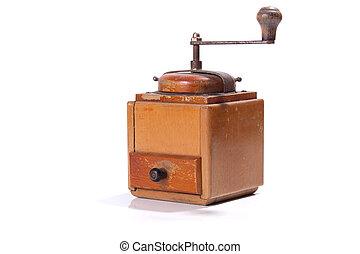 Vintage coffee grinder on white background