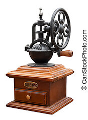 Vintage coffee mill isolated on white. Clipping path...