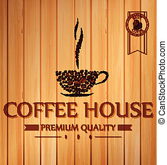 Vintage coffee poster on wooden