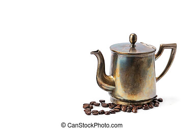 Vintage coffee pot isolated on white background. Free space for text.