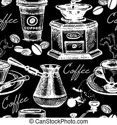 Vintage coffee seamless pattern. Hand drawn vector illustration