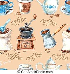 Vintage coffee set items seamless pattern