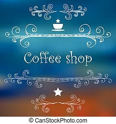 Vintage Coffee Shop card with monograms and lettering.