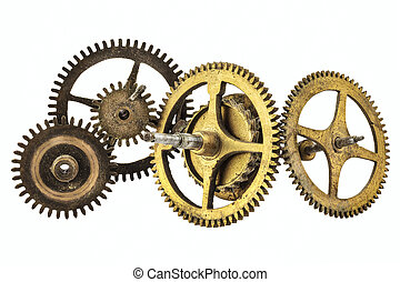 Vintage cogwheels of a clock isolated on white
