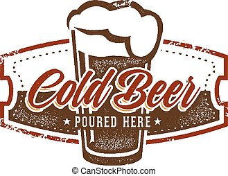 Vintage style cold beer graphic.