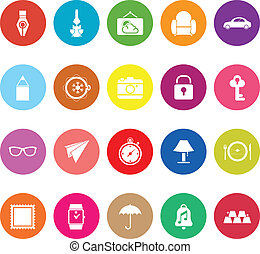 Vintage collection flat icons on white background