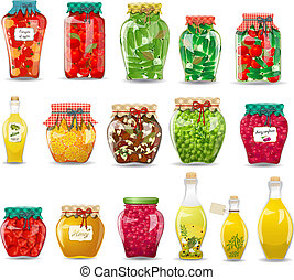 vintage collection of glass jars with preserved vegetables, mushrooms, fruit and honey for your design