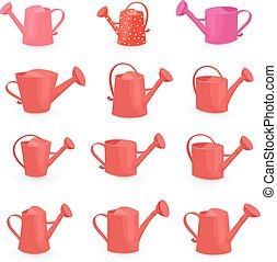 vintage collection of red can watering for your design